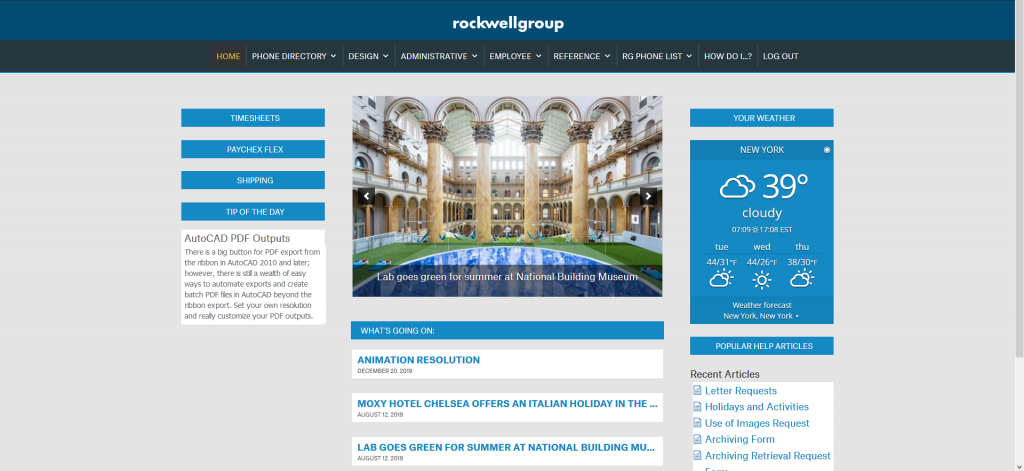 The Rockwell Grroup intranet designed by Westside Virtual