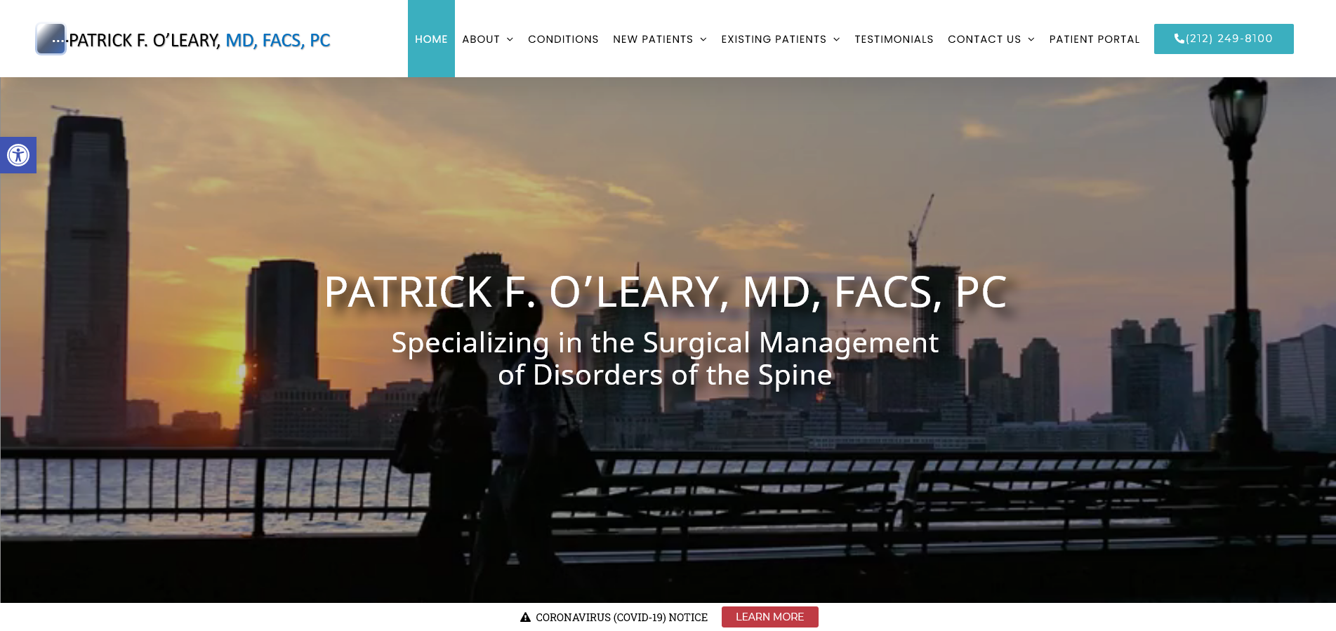 Dr. Patrick F. O'Leary, website design by Westside Virtual